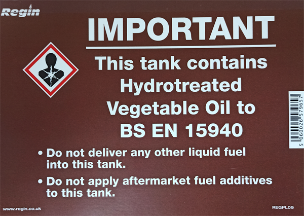 IMPORTANT TANK CONTAINS HVO STICKER (x5)